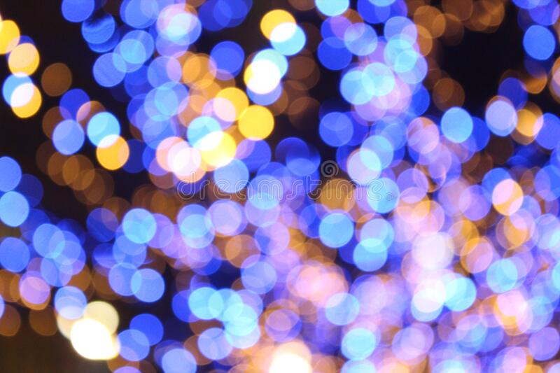Blue and yellow bokeh lights royalty free stock photo