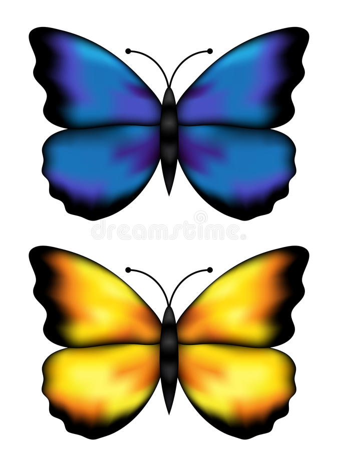 Blue and yellow butterflys royalty free illustration