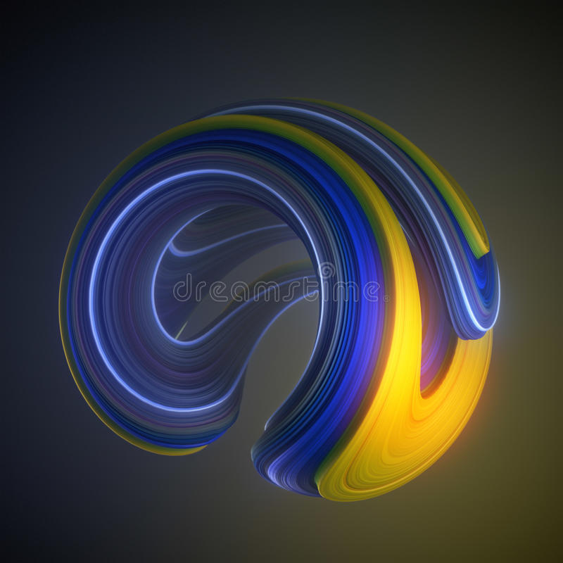 Blue and yellow colored twisted shape. Computer generated abstract geometric 3D render illustration. Blue and yellow colored abstract twisted shape. Computer royalty free illustration