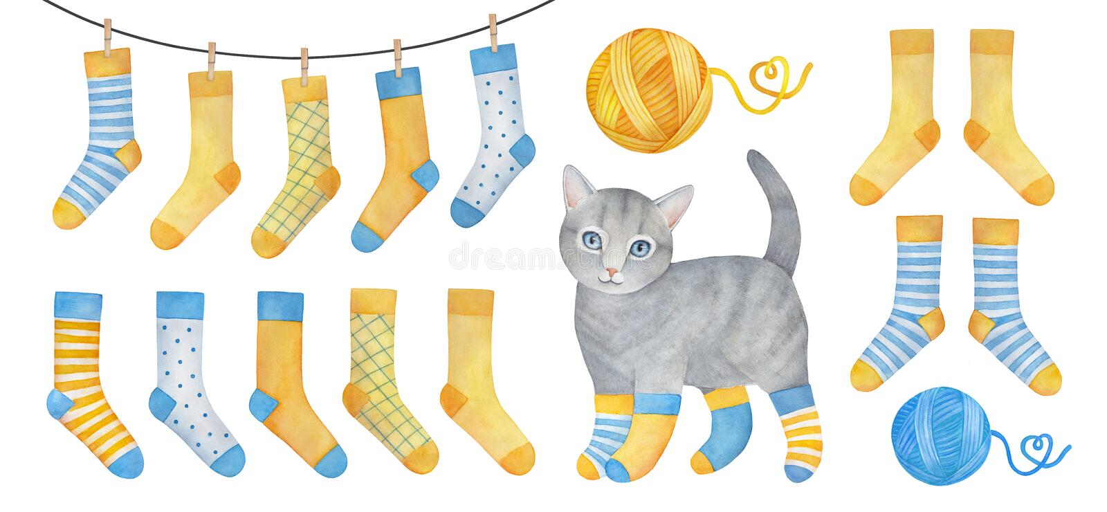 Blue and yellow cosy sock set with playful little kitten. Blue and yellow cosy sock set with playful little kitten, woolen yarn balls, pins, hanging clothes vector illustration