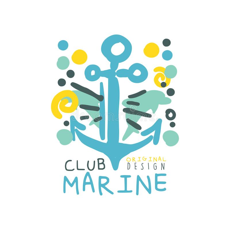 Blue and yellow creative marine theme illustration with hand drawn anchor for sea club logo original design. Hand drawn royalty free illustration