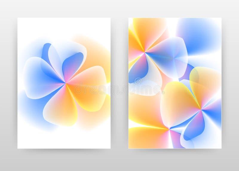 Blue yellow 3d flower petal concept design of annual report, brochure, flyer, poster. Blue orange flower concept background vector. Illustration flyer, leaflet vector illustration