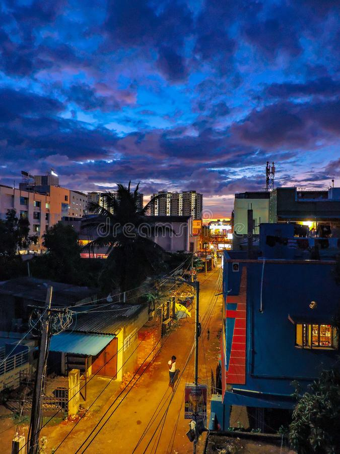 A blue and yellow evening royalty free stock photography