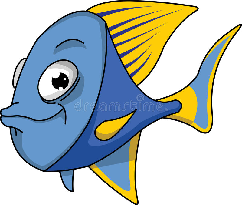 Blue and yellow fish. royalty free illustration