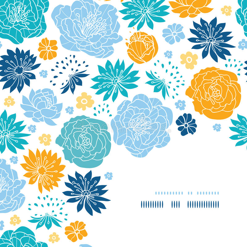 Blue and yellow flower silhouettes corner decor vector illustration