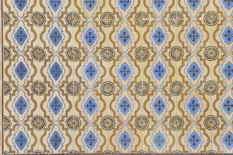 Portuguese Blue and Yellow Glazed Tiles, Textures, Craft royalty free stock photo