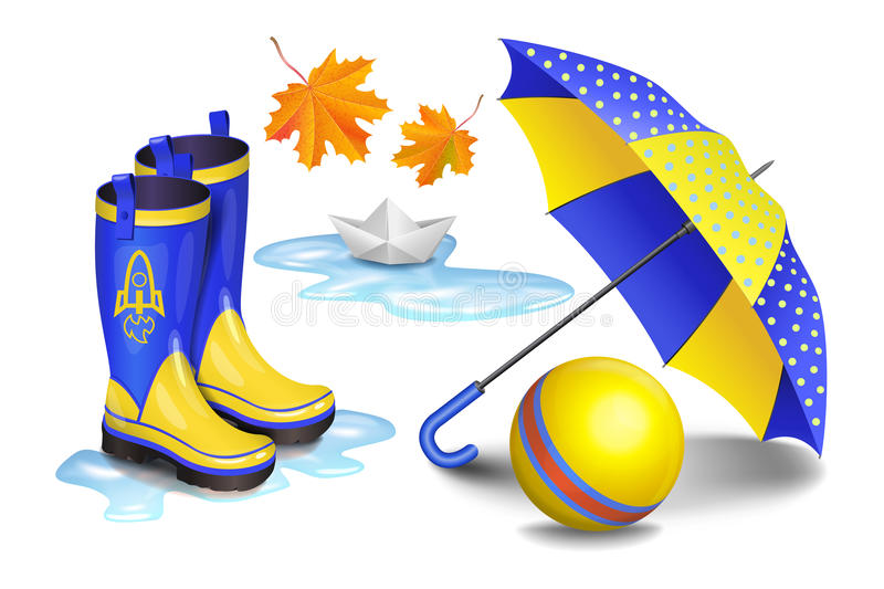 Blue-yellow gumboots,childrens umbrella, toy ball, falling leaves. Blue-yellow gumboots, childrens umbrella, toy ball, falling orange leaves and paper boat in vector illustration