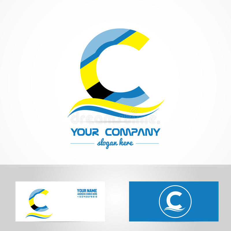 Blue Yellow Letter C Logo Icon Stock Vector Image