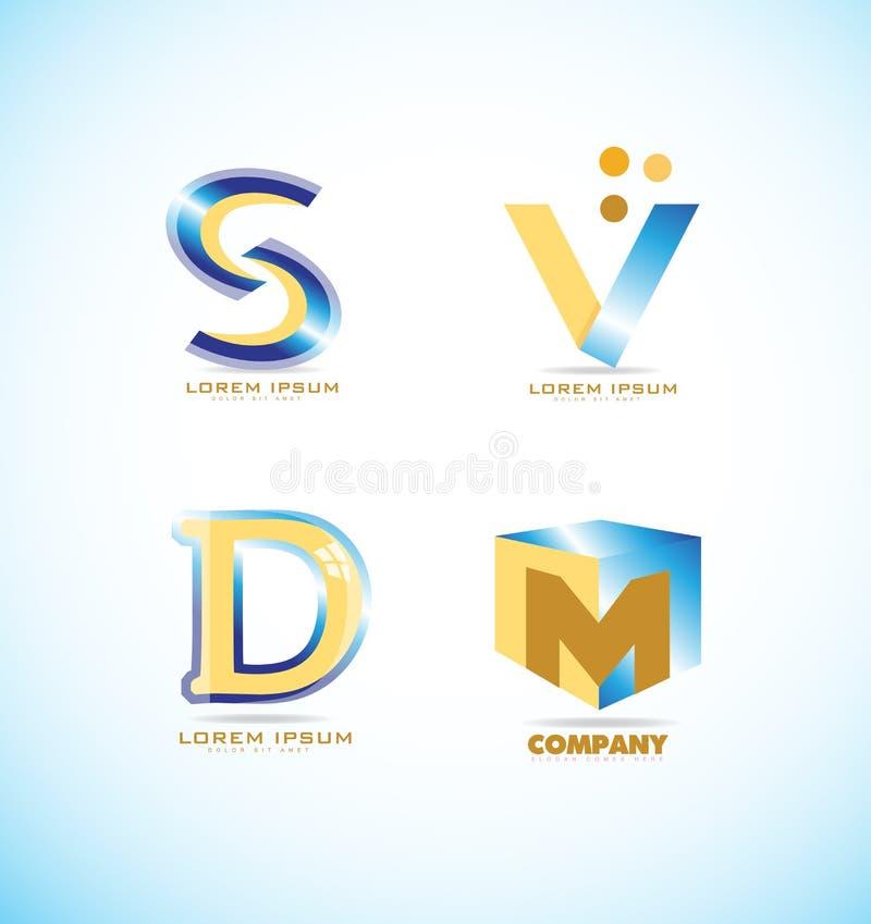 Blue Yellow Letter Logo Set Stock Vector Image
