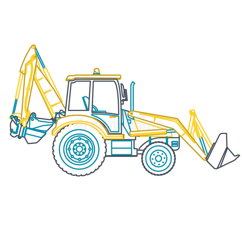 Blue yellow outline big digger builds roads on white. stock illustration