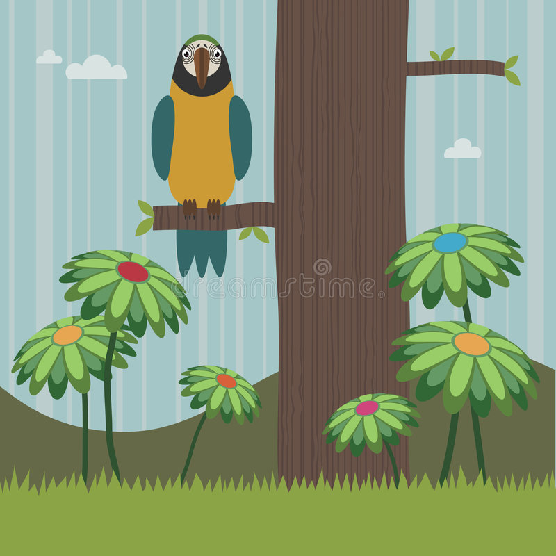 Blue and yellow parrot stock illustration