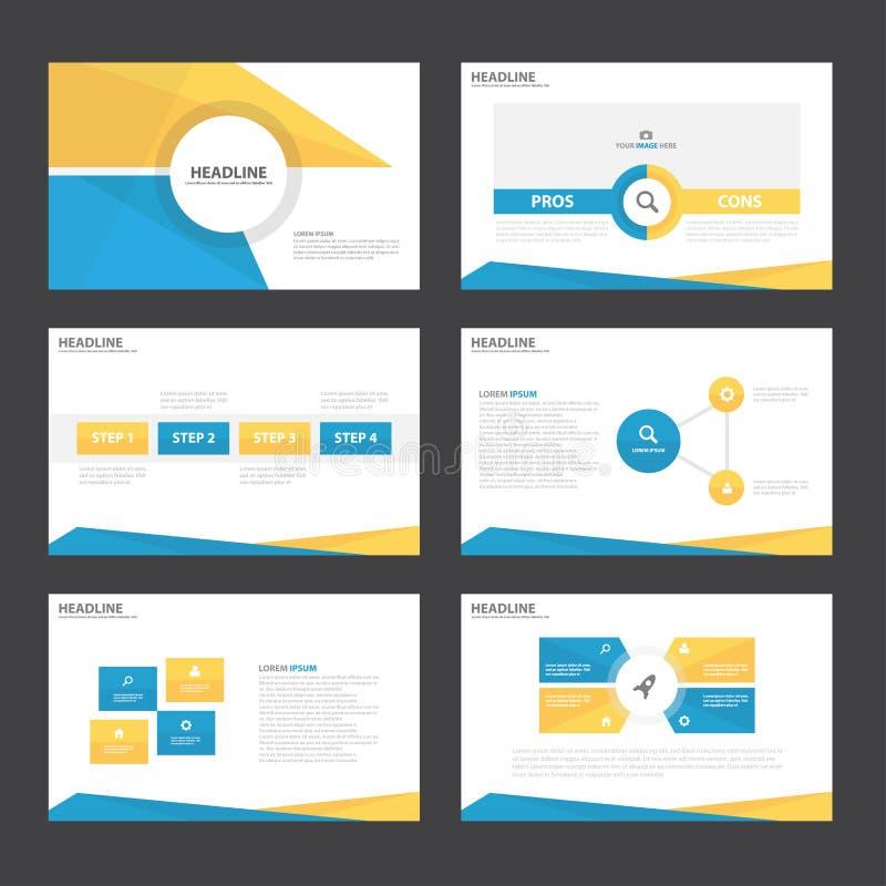 Blue yellow presentation templates Infographic elements flat design set for brochure flyer leaflet marketing stock illustration