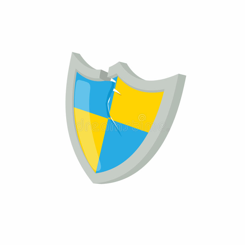 Blue And Yellow Protection Shield Icon Stock Vector Illustration