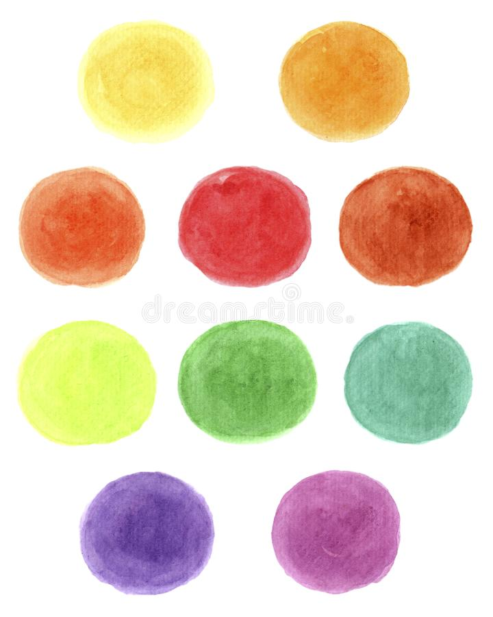 Blue, yellow,red,green, purple,orange watercolors on a white background stock photography