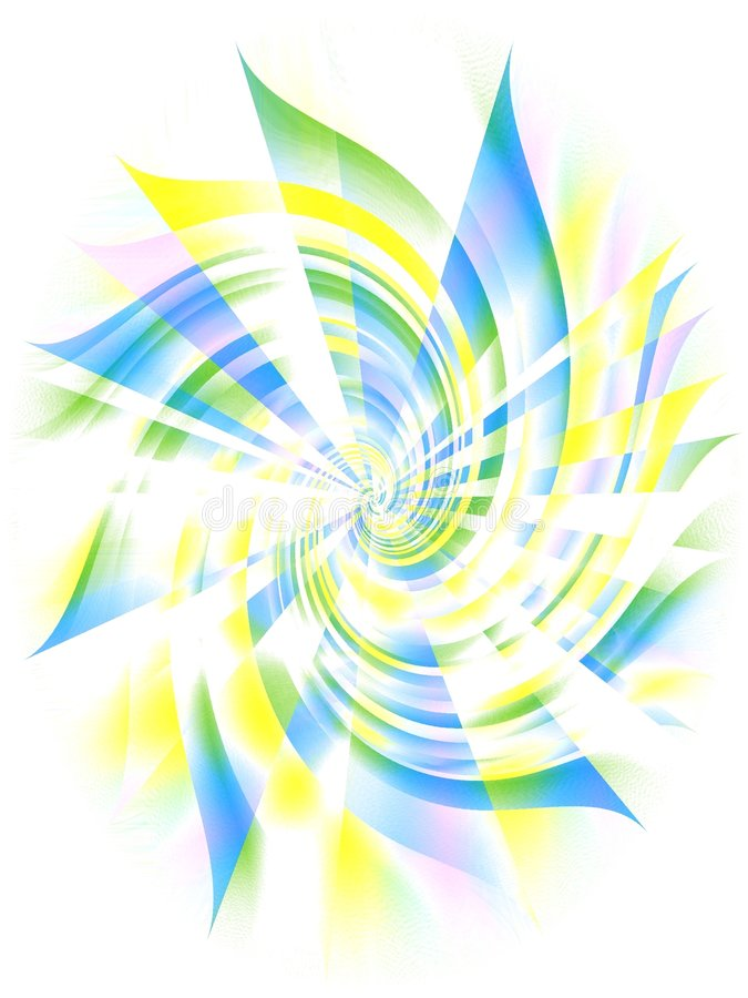Blue Yellow Spiral Whirlpool. A pinwheel swirl spiral texture on a white background in blue, yellow and green colors stock photos