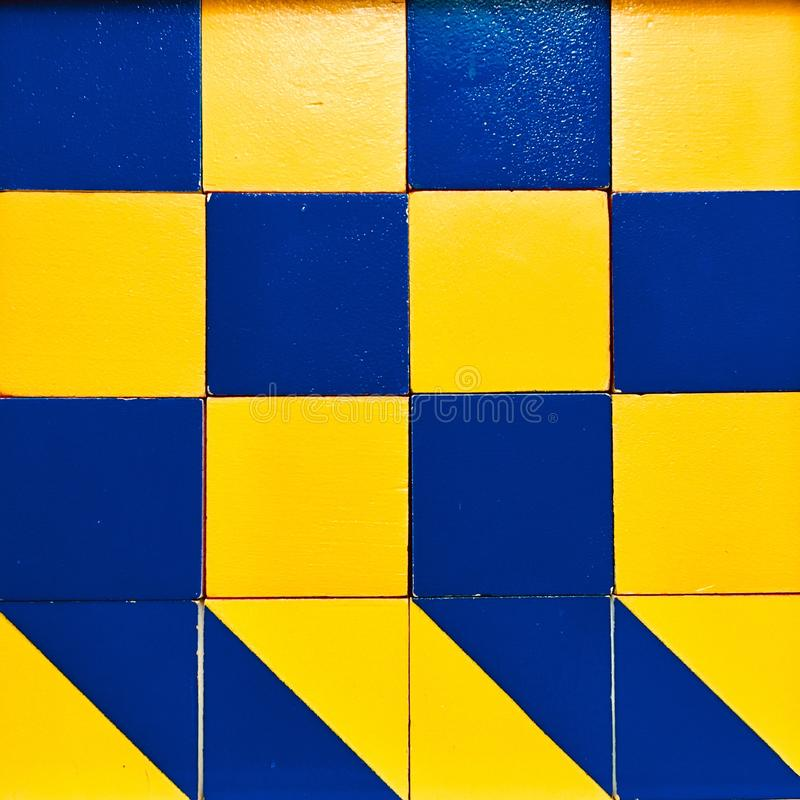 Blue and yellow squares pattern royalty free stock image