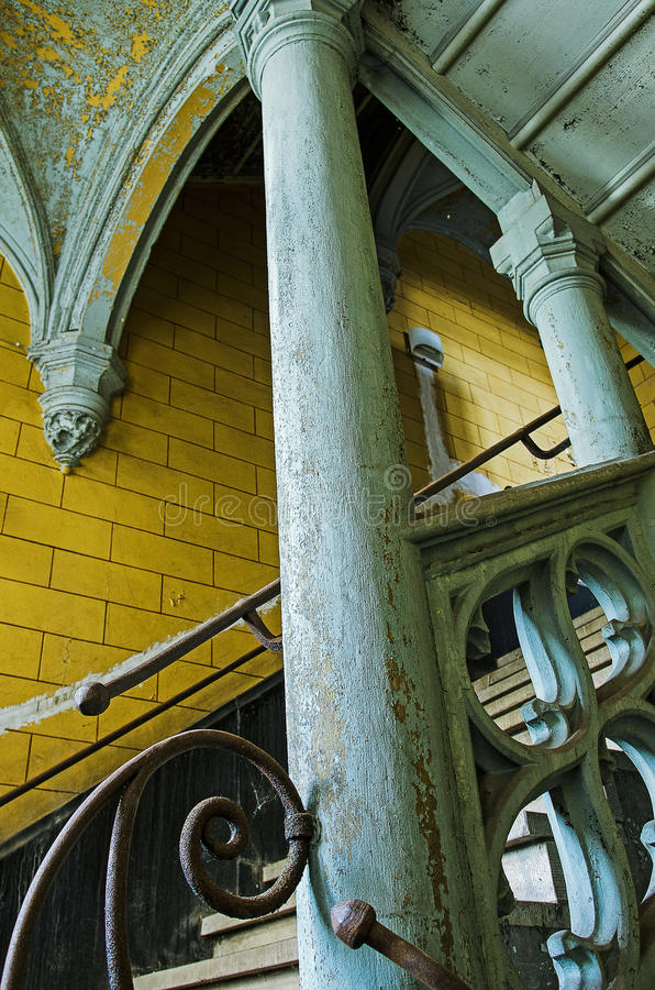 Download Blue yellow stairs stock image. Image of chateau, demolished - 83995447