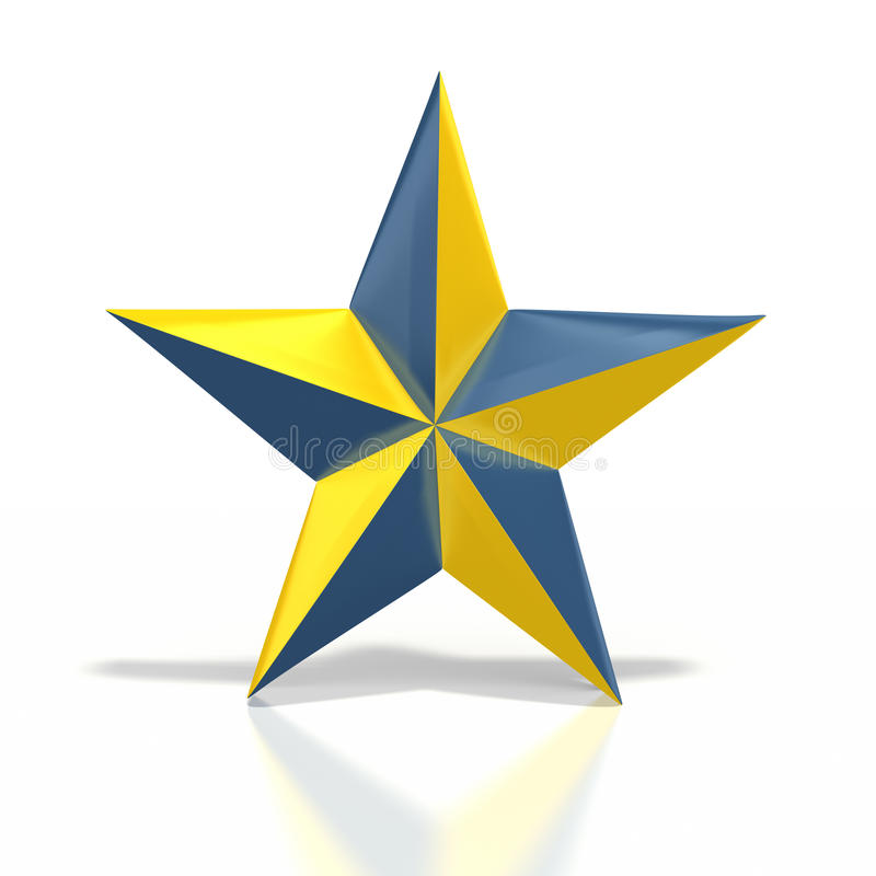 Blue yellow star. Blue and yellow nautical star on white background. Clipping path included stock illustration