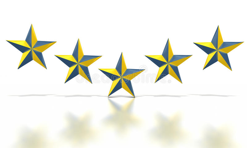 Blue yellow stars. Row of five blue and yellow nautical stars on white background royalty free illustration