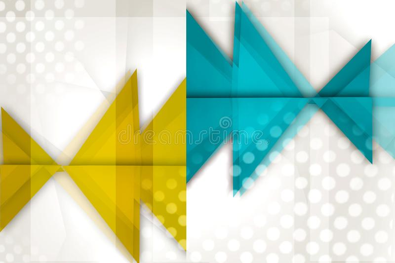 Blue and yellow triangles overlap abstract background. Creative background vector illustration