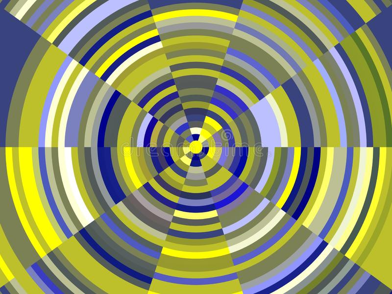 Blue yellow vortex background, forms, abstract texture royalty free illustration