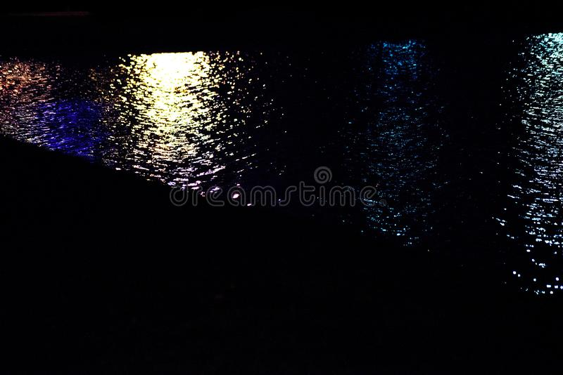 Blue yellow water surface at night. Blue yellow water background at night royalty free stock photo