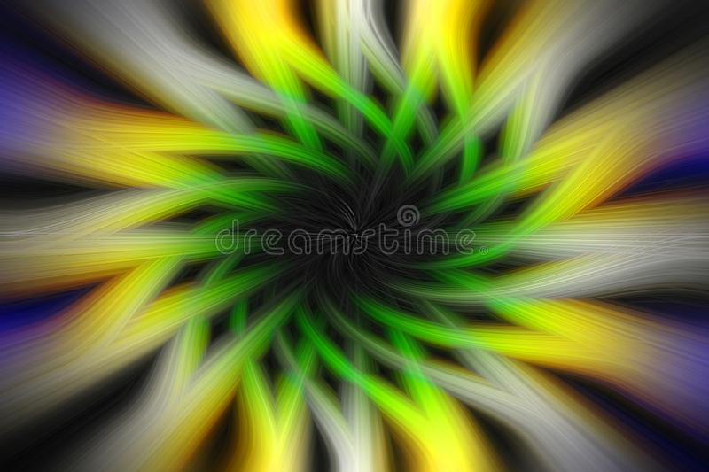Blue, yellow, white and black spinned radial lines with fibers effect, fantasy background stock image
