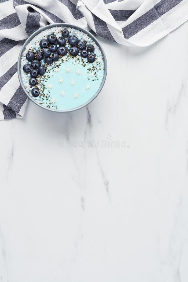Free Blue Yogurt Smoothie Bowl Royalty Free Stock Image - 130778576