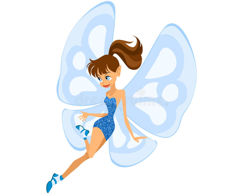 Blue young fairy. Vector illustration of a blue young fairy stock illustration