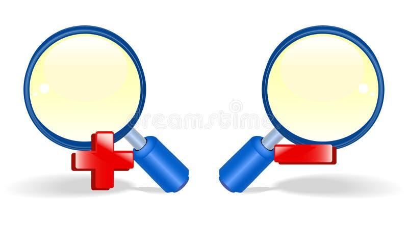 Blue zoom icon stock illustration