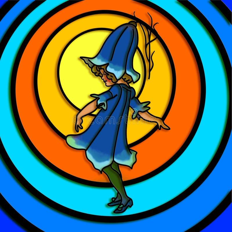 Bluebell Flower Girl. Stained glass style illustration of a little bluebell flower girl royalty free illustration
