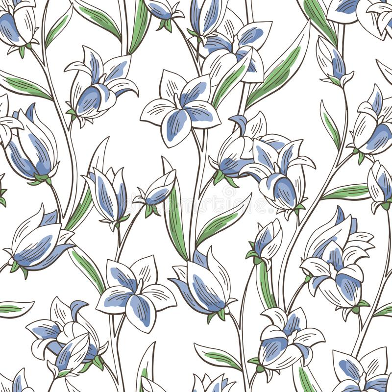 Bluebell flower graphic color seamless pattern sketch background illustration vector. Bluebell flower graphic color seamless pattern sketch background vector illustration