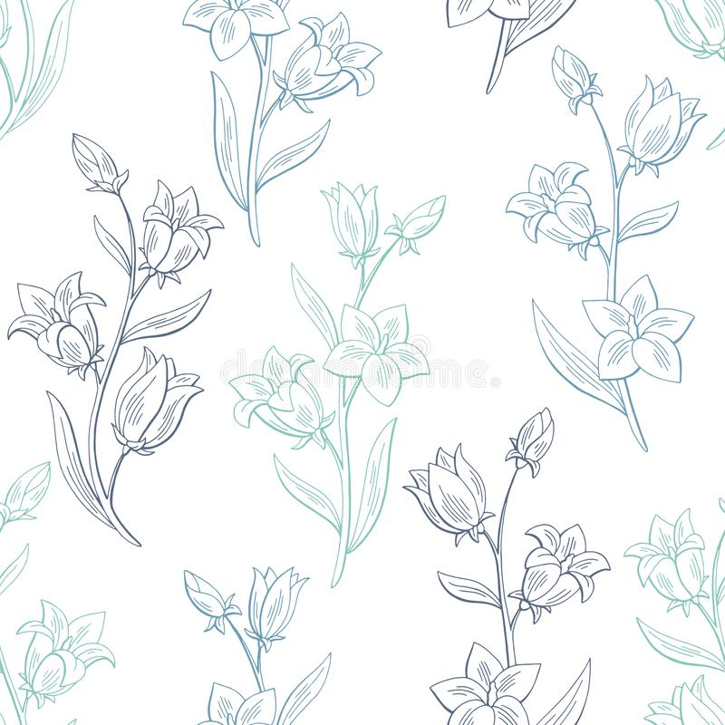 Bluebell flower graphic color seamless pattern sketch background illustration vector. Bluebell flower graphic color seamless pattern sketch background vector stock illustration