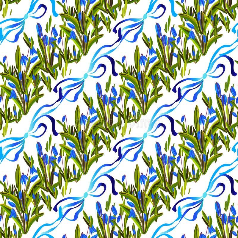 Bluebell kwiatów wzór royalty ilustracja