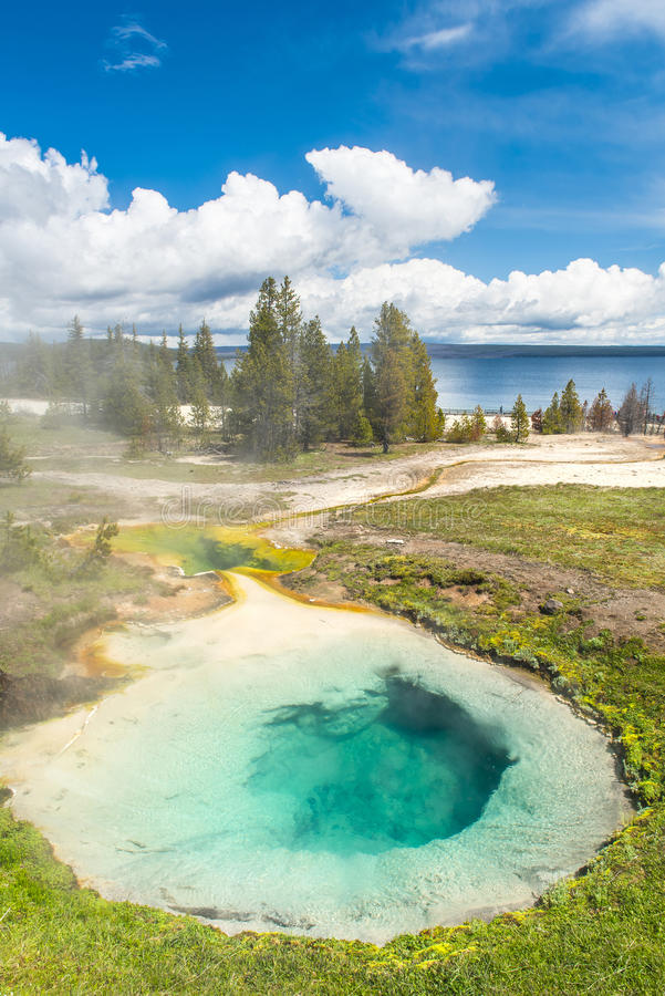 Bluebell pool. Deatiled photo of Bluebell pool from above. Yellowstone National Park, Wyoming, USA stock photo