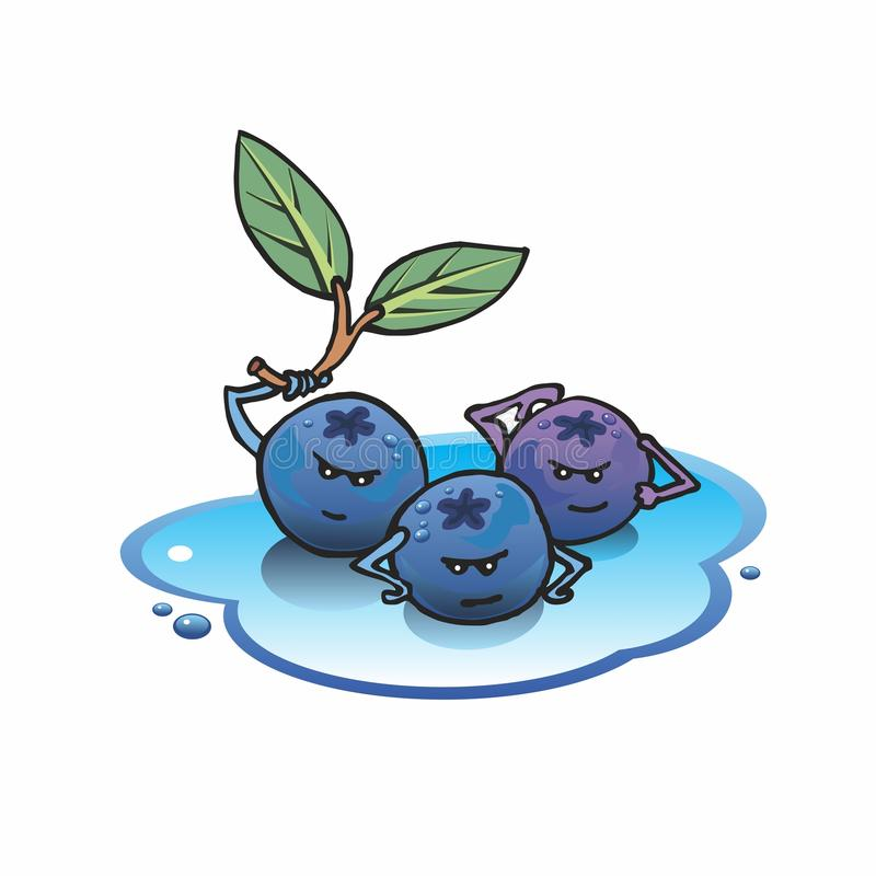Blueberries. Healthy cartoon blueberries posing and flexing, showing their strength stock illustration