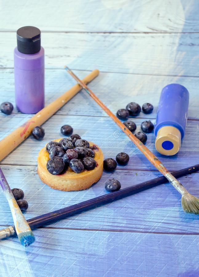 Blueberries and art concept royalty free stock photography