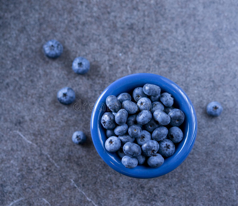 Blueberries in blue bowl. On the table stock photography