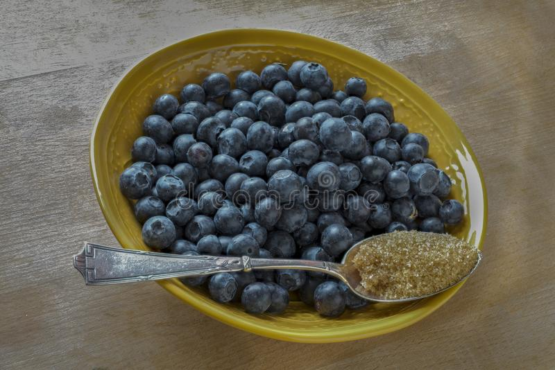 Blueberries and  brown sugar on beechwood royalty free stock photos