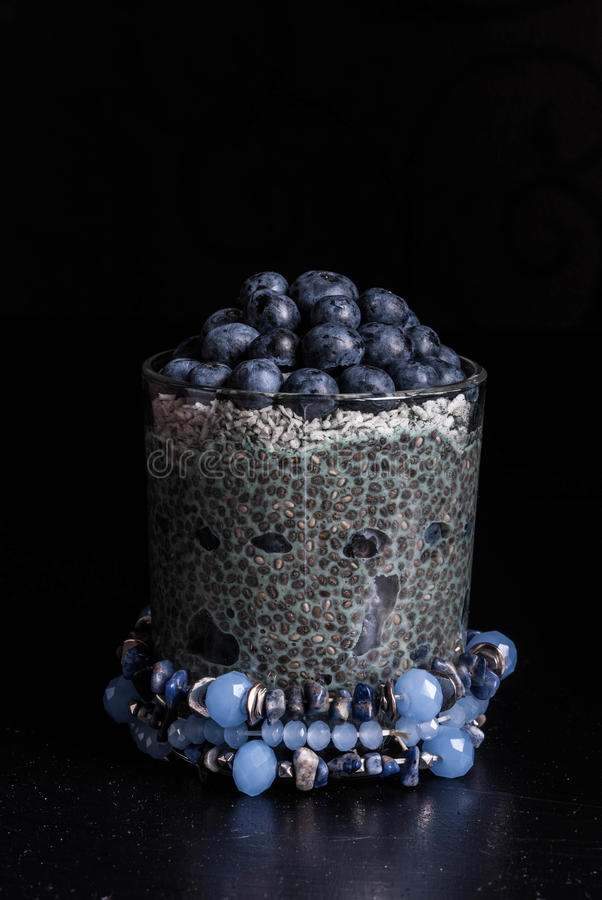 Blueberries chia pudding royalty free stock images