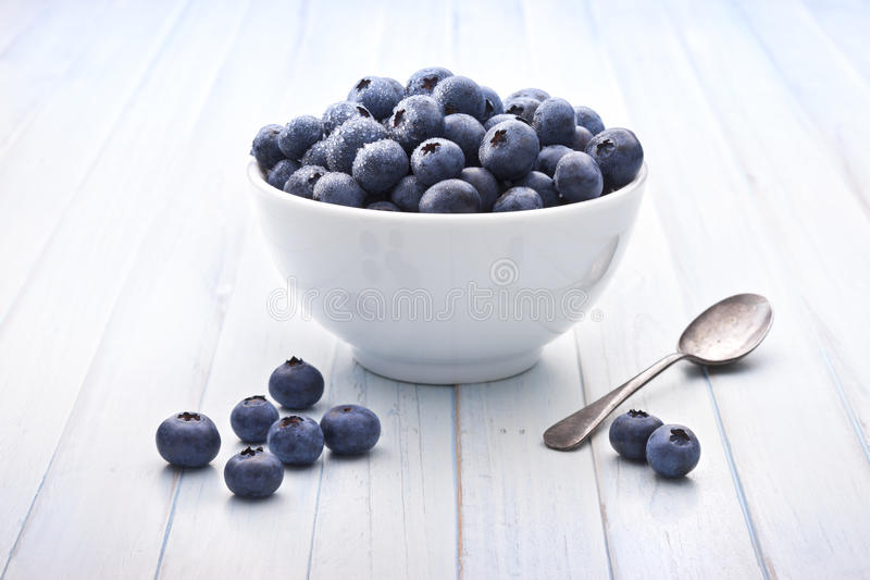 Bowl Blueberries Healthy Fruit Background stock photo