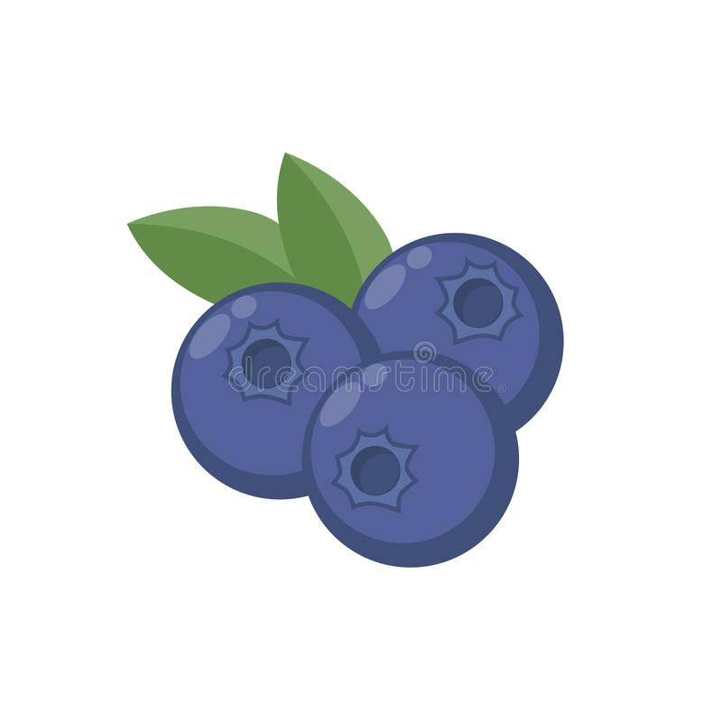 Blueberries with leaf vector icon. Blueberry icon clipart. Blueberry cartoon. Blueberries stock illustration