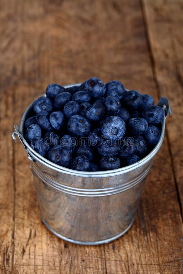 Download Blueberries In Little Steel Bucket Stock Image - Image: 27591729