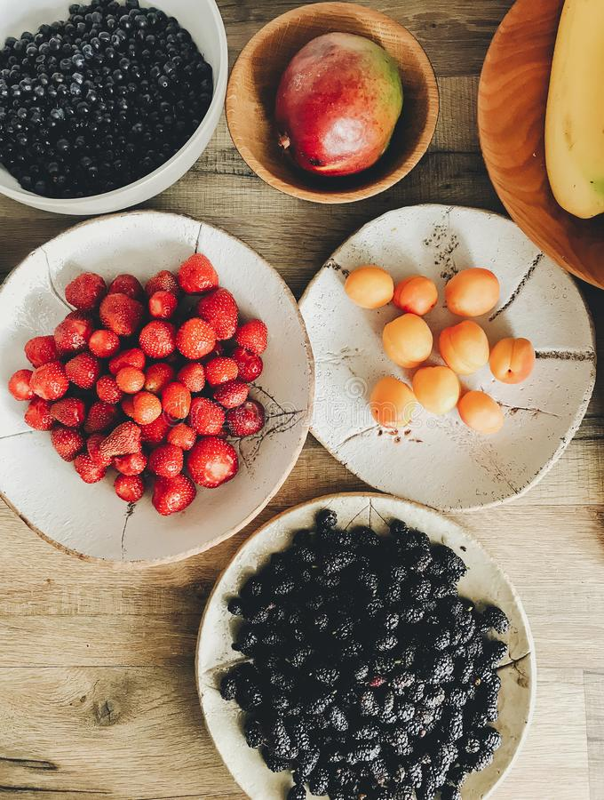 Blueberries, mangoes, apricots, strawberries, bananas, mulberry stock photo