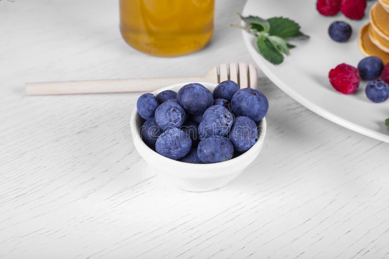Blueberries in a plate close up stock photo