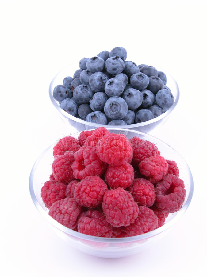 Blueberries and raspberries royalty free stock photo