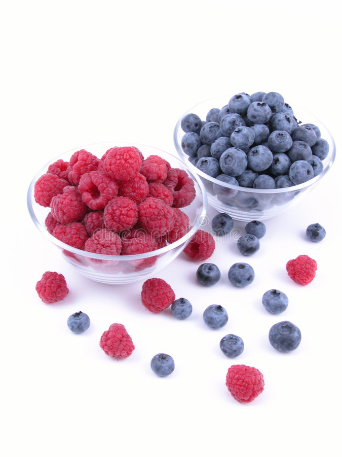 Blueberries and raspberries royalty free stock image