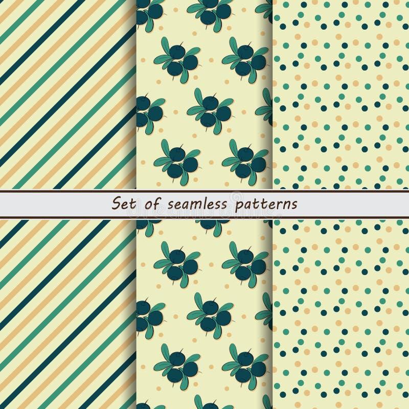 Blueberries, set of seamless patterns vector illustration