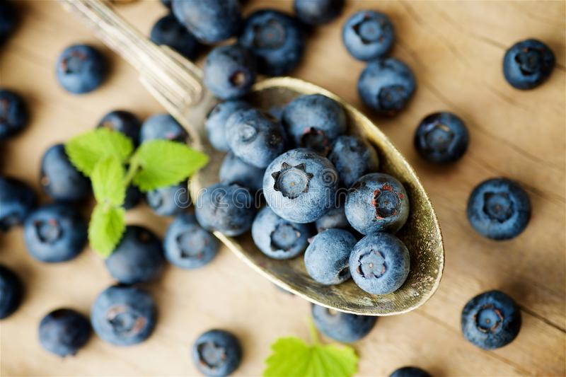 Blueberries on wooden background stock image