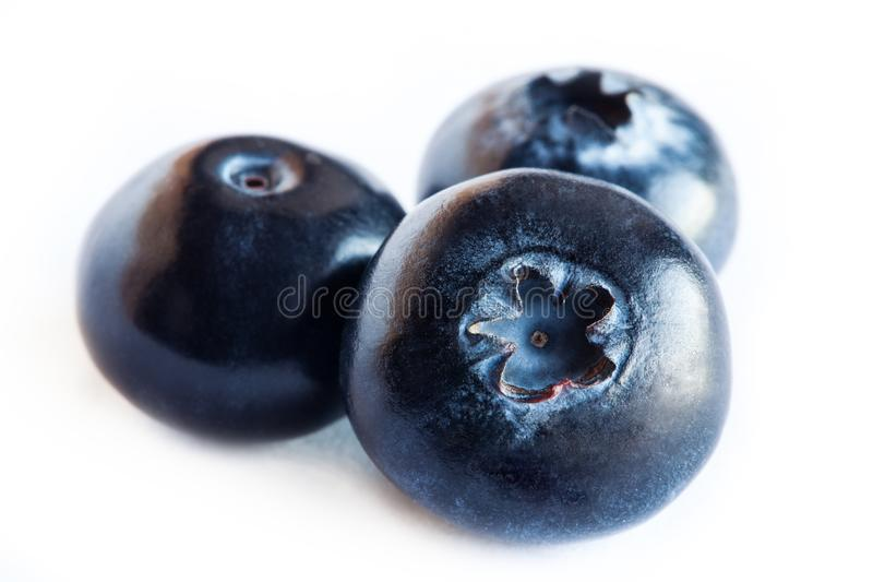 Blueberry or bilberry or blackberry or blue whortleberry or huckleberry isolated on white background cutout. A stock photo